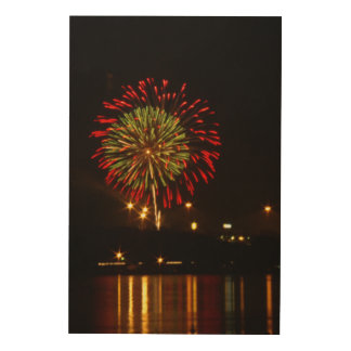 red and green fireworks explode over Mississippi Wood Canvas