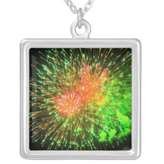 Red and Green Fireworks Silver Plated Necklace