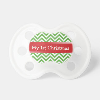 Red and Green First Christmas Holiday Chevron Pacifier