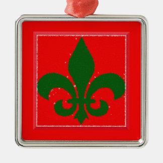 Red and Green Fleur de lis Christmas Ornament
