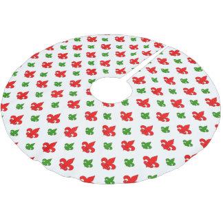 Red and Green Fleur de Lis Christmas Tree Skirt