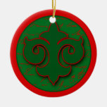 Red and Green Fleur de Lis Holiday Ornament