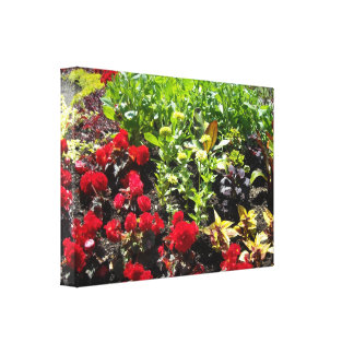 Red and Green Floral Garden Canvas Print
