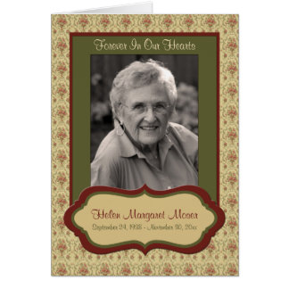 Red and Green Floral Memorial Card with Photo