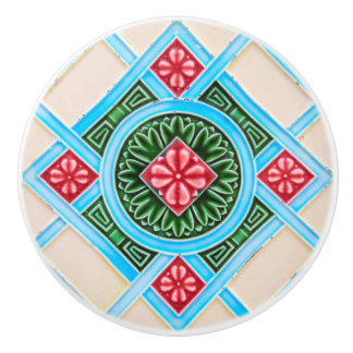 Red And Green Floral Ornamental Furniture Ceramic Knob