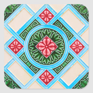 Red And Green Floral Ornamental Tile Sticker