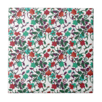 Red and Green Floral tile