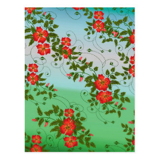 Red and Green Flower Pattern Postcard