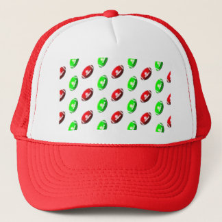 Red and Green Football Pattern Trucker Hat