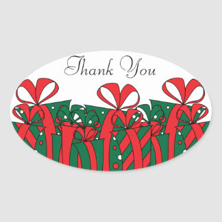 Red and Green Gift Presents | Customize Oval Sticker