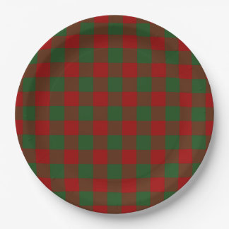 Red and Green Gingham Pattern 9 Inch Paper Plate