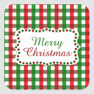 Red and Green Gingham Pattern Christmas Square Sticker