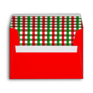 Red and Green Gingham Pattern Envelope