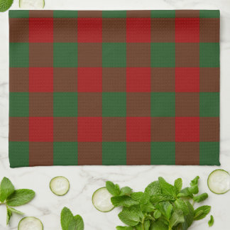 Red and Green Gingham Pattern Hand Towels