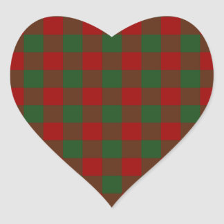Red and Green Gingham Pattern Heart Sticker
