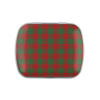 Red and Green Gingham Pattern Jelly Belly Tin