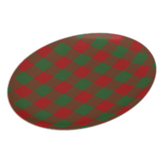 Red and Green Gingham Pattern Melamine Plate