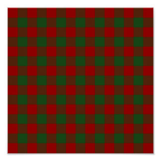Red and Green Gingham Pattern Poster