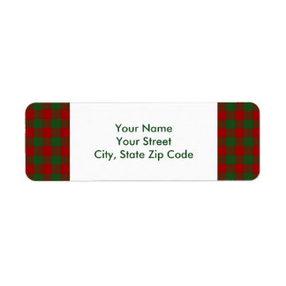 Red and Green Gingham Pattern return address label