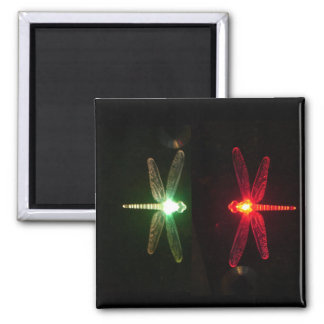 Red and Green glowing dragonflies 2 Inch Square Magnet