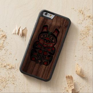 Red and Green Haida Spirit Bear Carved Walnut iPhone 6 Bumper Case