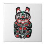 Red and Green Haida Spirit Bear Ceramic Tile