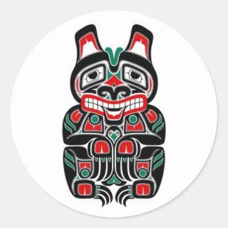 Red and Green Haida Spirit Bear Classic Round Sticker