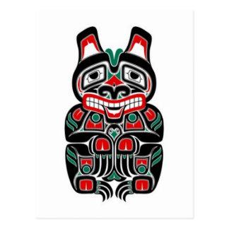 Red and Green Haida Spirit Bear Postcard