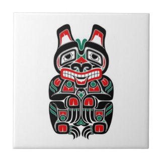 Red and Green Haida Spirit Bear Small Square Tile