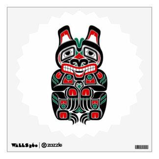 Red and Green Haida Spirit Bear Wall Decal