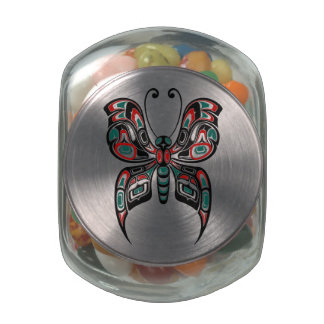 Red and Green Haida Spirit Butterfly Glass Jar