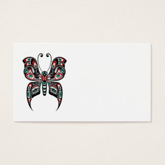 Red and Green Haida Spirit Butterfly on White Business Card