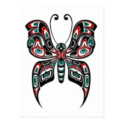 Red and Green Haida Spirit Butterfly on White Postcard