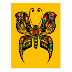 Red and Green Haida Spirit Butterfly on Yellow Postcard