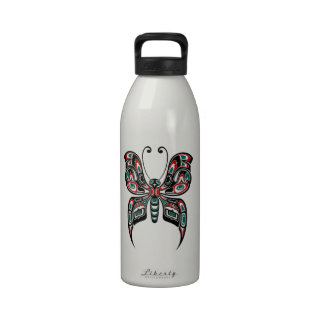 Red and Green Haida Spirit Butterfly Reusable Water Bottle