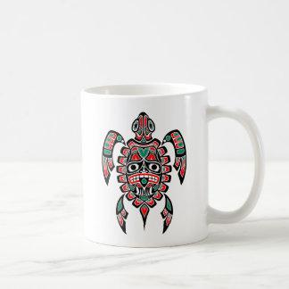 Red and Green Haida Spirit Sea Turtle Coffee Mug