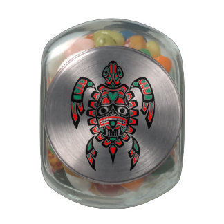 Red and Green Haida Spirit Sea Turtle Glass Candy Jars
