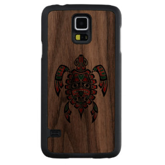 Red and Green Haida Spirit Sea Turtle Carved® Walnut Galaxy S5 Slim Case