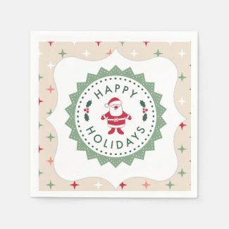 Red and Green Happy Holidays Santa Party Napkins Paper Napkin