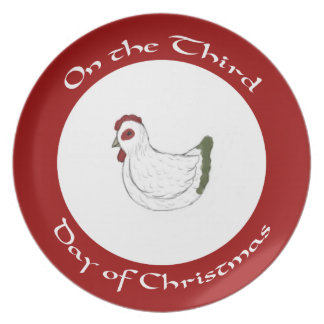 Red and Green Hen Third Day of Christmas Plate