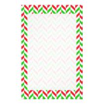 Red and Green Herringbone Pattern Christmas Stationery