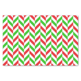 Red and Green Herringbone Pattern Christmas Tissue Paper