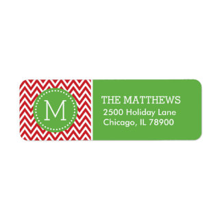 Red and Green Holiday Chevron Monogram Label