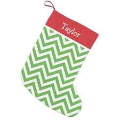 Red and Green Holiday Chevron Monogram Small Christmas Stocking