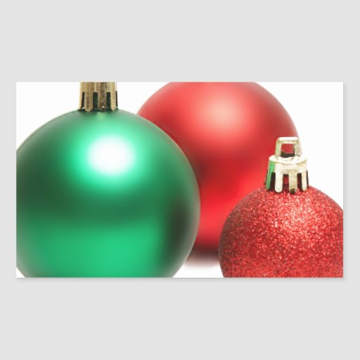 RED AND GREEN HOLIDAY CHRISTMAS ORNAMENTS RECTANGULAR STICKER