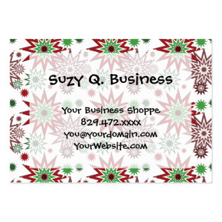 Red and Green Holiday Christmas Snowflakes Pattern Business Card Templates