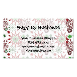 Red and Green Holiday Christmas Snowflakes Pattern Business Cards