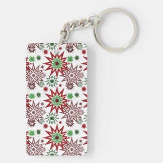 Red and Green Holiday Christmas Snowflakes Pattern Keychain