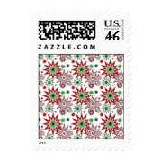 Red and Green Holiday Christmas Snowflakes Pattern Stamps