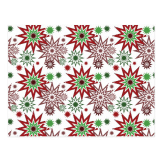 Red and Green Holiday Christmas Snowflakes Pattern Postcard